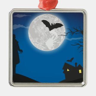 De hemel van het maanlicht zilverkleurig vierkant ornament