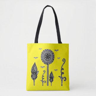 De henna inspireerde magisch bos geel bolsa draagtas