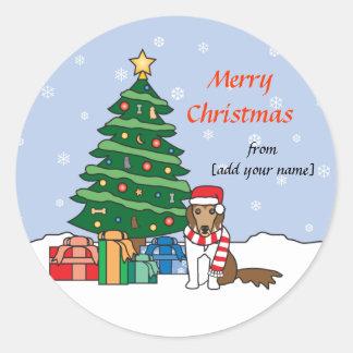 De Herdershond en de Kerstboom van Shetland Ronde Sticker