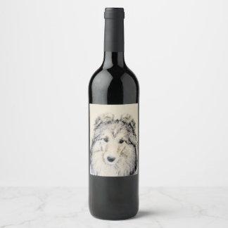 De Herdershond van Shetland Wijnetiket