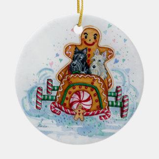 De Heren Scotties van de peperkoek Rond Keramisch Ornament