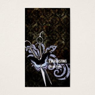 de herenkapperschaar van de damast grunge vlinder visitekaartjes