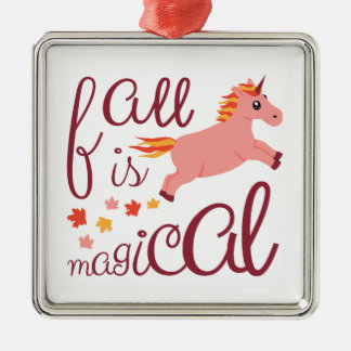 De herfst is Magische Kastanjebruin bloost de Zilverkleurig Vierkant Ornament
