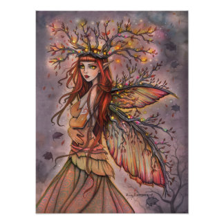 De herfst Koningin Fairy Fantasy Art door Molly Poster