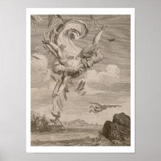 De herfst van Icarus, 1731 (gravure) Poster