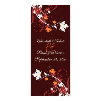 De herfst verlaat oranjerood wit 10,2x23,5 uitnodiging kaart