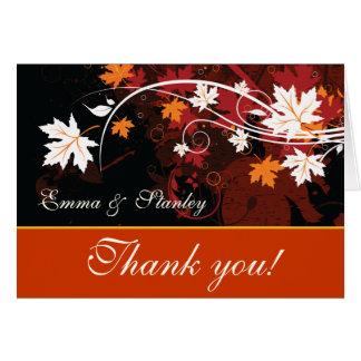 De herfst verlaat oranjerood wit huwelijk dankt u briefkaarten 0