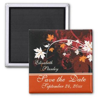 De herfst verlaat oranjerood wit huwelijk sparen vierkante magneet