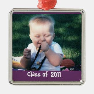 De Herinnering van de Foto van afstuderen Zilverkleurig Vierkant Ornament