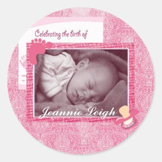 De Herinnering van de Foto van de Geboorte van het Ronde Sticker