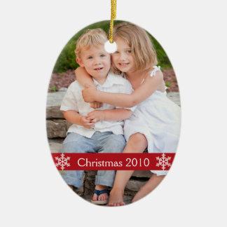 De herinnering van de Foto van Kerstmis Keramisch Ovaal Ornament