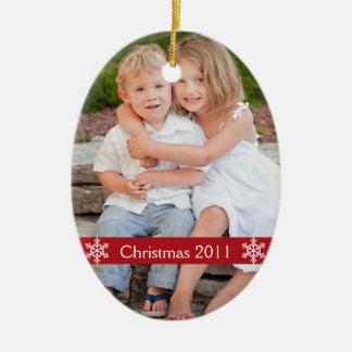 De herinneringornament van de Foto van Kerstmis Keramisch Ovaal Ornament