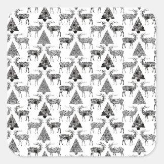 De Herten & de Bomen van Kerstmis Vierkante Sticker