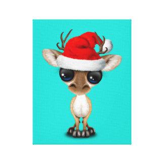 De Herten die van het baby een Pet van de Kerstman Canvas Afdruk