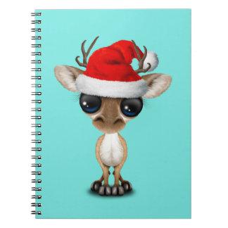 De Herten die van het baby een Pet van de Kerstman Ringband Notitieboek