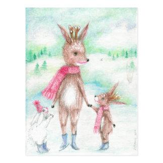 De herten van de mama met baby Bambi en Konijntje Briefkaart