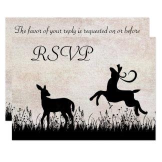 De Herten van het silhouet in het Huwelijk RSVP Kaart