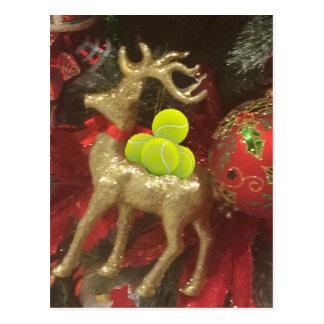 De herten van Kerstmis met tennisballen Briefkaart