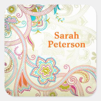 De het exotische Etiket van het Boek Vierkant Sticker