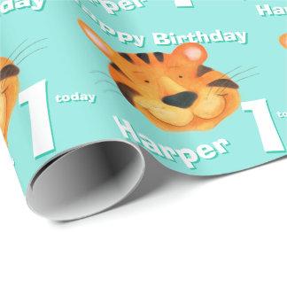 De het gezichtskunst van de tijger noemt 1st cadeaupapier