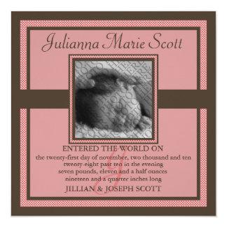 De het ingetogen Baby van de Foto/Aankondiging van 13,3x13,3 Vierkante Uitnodiging Kaart