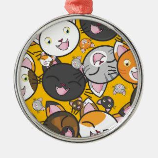 De het lachen katten zilverkleurig rond ornament