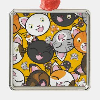 De het lachen katten zilverkleurig vierkant ornament