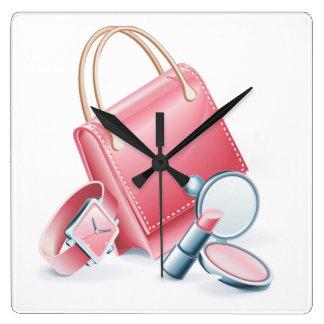 De het roze Horloge en Make-up van de Beurs Vierkante Klok