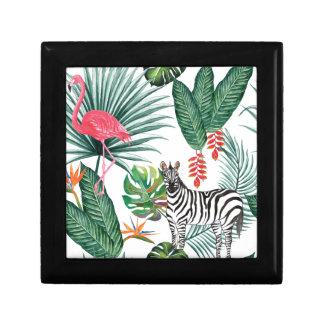 De het tropische Zebra en Flamingo van de Druk van Decoratiedoosje
