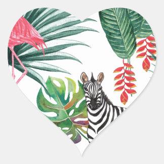 De het tropische Zebra en Flamingo van de Druk van Hart Sticker