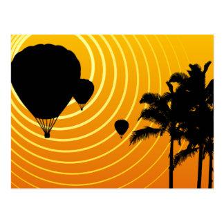 de hete luchtballons van de zonscène wenskaart