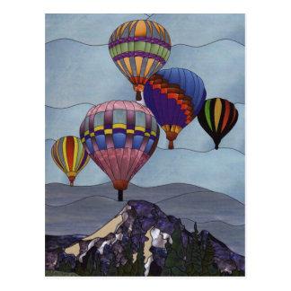 De hete luchtballons van het gebrandschilderd glas briefkaart