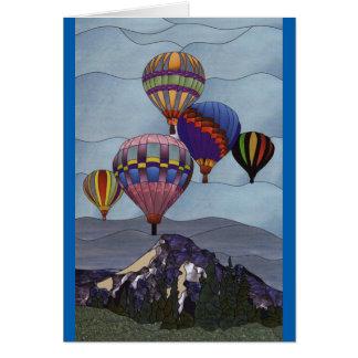 De hete luchtballons van het gebrandschilderd glas wenskaart
