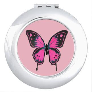 De hete Roze Compacte Spiegel van de Vlinder Makeup Spiegels