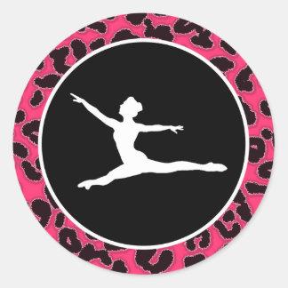 De hete Roze Druk van de Luipaard; Balletdanser Ronde Stickers