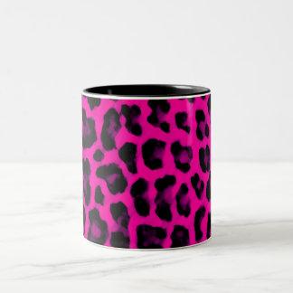 De hete Roze Druk van de Luipaard Tweekleurige Koffiemok