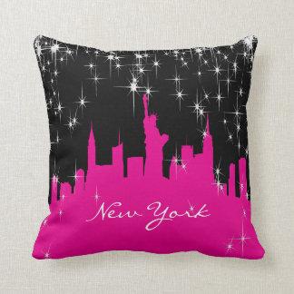 De hete Roze en Zwarte Horizon van New York Sierkussen