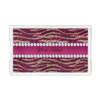 De hete Roze Gestreepte Strepen van de Folie Faux Acryl Dienblad