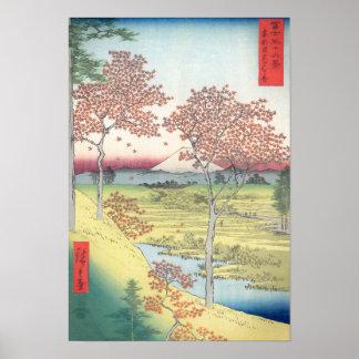 De Heuvel van de Zonsondergang van Hiroshige, Poster