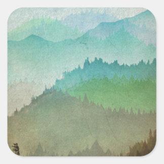 De Heuvels van de waterverf Vierkante Sticker