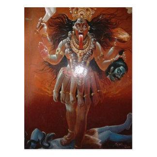 De Hindoese godin Kali van de beschrijving. Foto Briefkaart