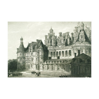 De Historische Gravure Thomas Allom van Chambord Canvas Afdruk