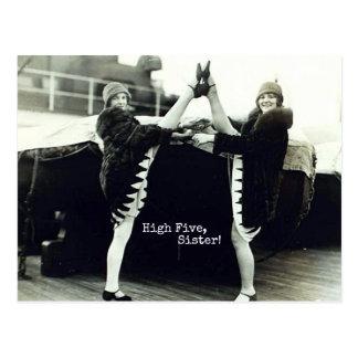 De Hoge Vijf Gelukwensen van de vintage Danser Briefkaart