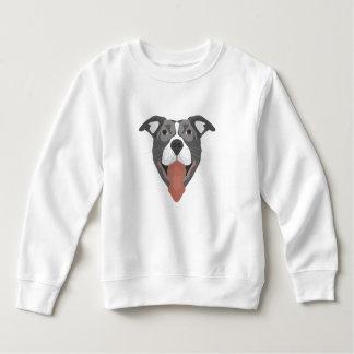 De Hond die van de illustratie Pitbull glimlachen Kinder Fleece