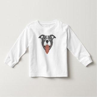 De Hond die van de illustratie Pitbull glimlachen Kinder Shirts