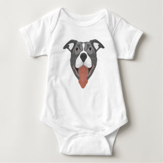 De Hond die van de illustratie Pitbull glimlachen Romper