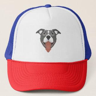 De Hond die van de illustratie Pitbull glimlachen Trucker Pet
