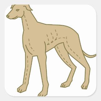 De Hond die van de windhond MonoLijn bevinden zich Vierkant Stickers
