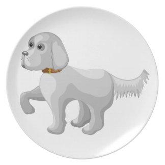 De hond geeft poot party bord