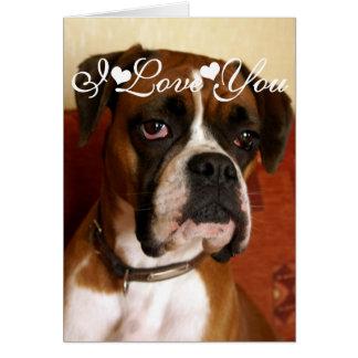 De Hond Gelukkige I van de bokser houdt van u Wenskaart